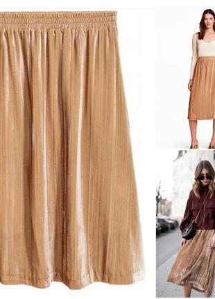 Бархатная юбка h&m, сток, xs, s, m