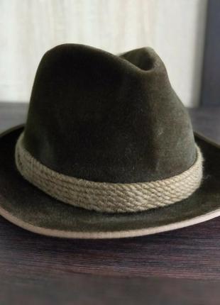 Mayser оливковий капелюх unisex 55 fedora style