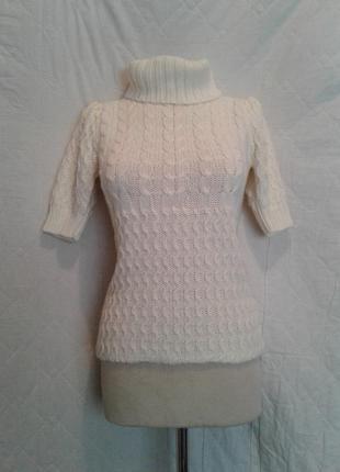 Белый вязаный джемпер с короткими рукавами ,m-l