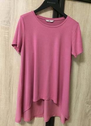 Туника футболка блузка удленненная с шифоновой спинкой от tu