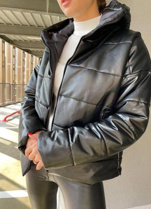 Куртка эко кожа холлофайбер турция