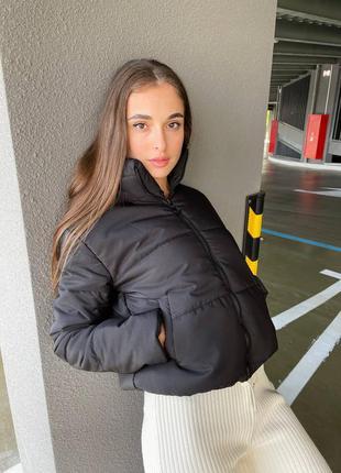 Тёплая куртка плащевка матовая холлофайбер