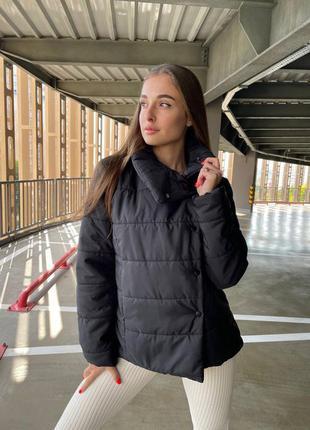 Тёплая удлинённая куртка демисезонная холлофайбер