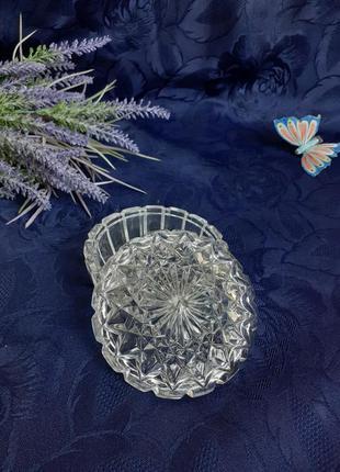 Шкатулка ссср стеклянная прессованная фактурная с клеймом винтаж советская хрустальная круглая ссз миниатюра