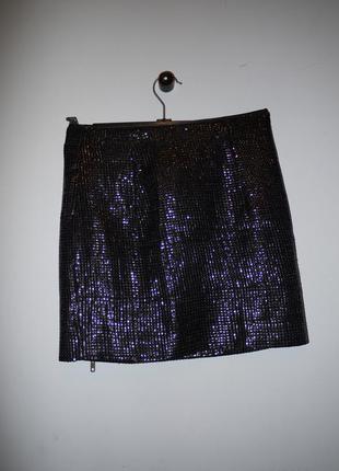 Новая мини юбка ткань как из пайеток .черная . на новый год