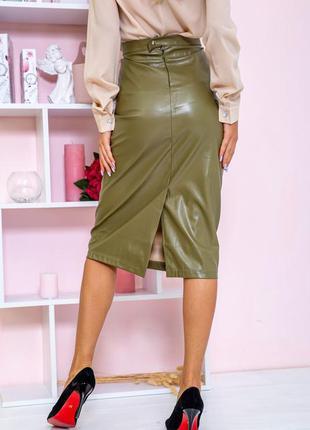 Хаки юбка кожа зам качество бомба для стильной девушки цвета s m l