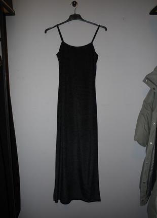Бархатное черное платье на брительках ( а-ля ночная рубашка) .макси ,длинное