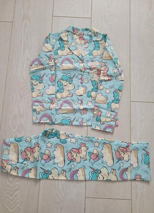 Нова піжама пижамка с единорожками единороги котики