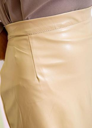 Бежевая миди эко- кожа качество супер юбка цвета-s m l