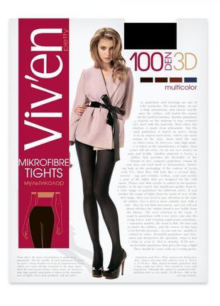Черные плотные колготки 5-xl 100 den viven microfibre 3d