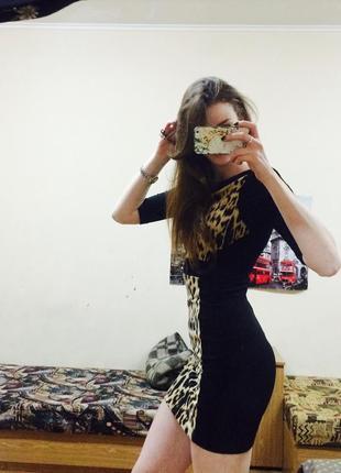 Вечернее леопардовое платье zara