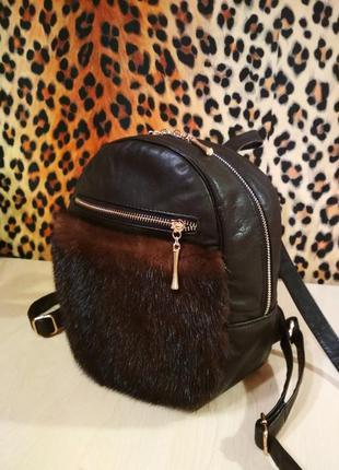 Кожаный рюкзак с мехом норки