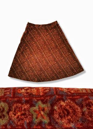Бархатная винтажная юбка мини короткая расклешенная колокол в принт полоска цветы бархат коттон хлопок
