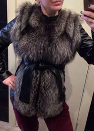 Жилет, куртка, шуба из натуральной чернобурки