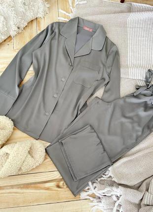 Шелковая пижама рубашка + брюки костюм для дома