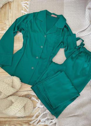 Шелковая пижама рубашка брюки