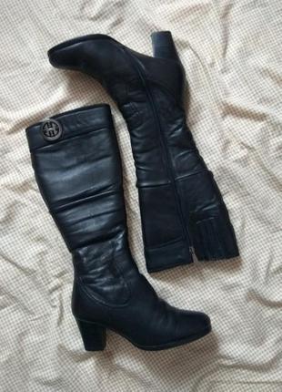 Зимние кожаные сапоги на каблуке, 37 размер