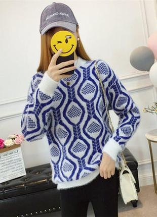 Стильный сине-белый женский ангоровый свитерна s-m