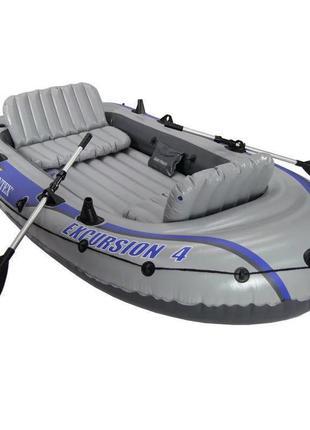 Четырехместная надувная лодка для рыбалки и прогулок intex excursion 68324, до 400 кг