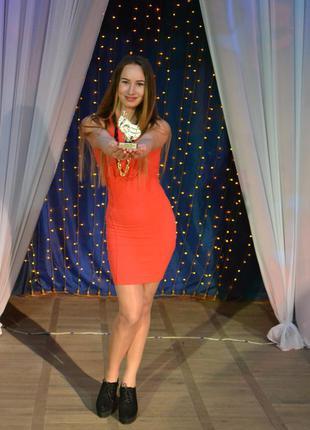 Красивое нарядное платье мини утягивающее красное кораловое pull&bear размер s