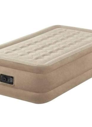 Одноместная надувная велюровая кровать со встроенным насосом intex 64426 (размер 99*191*46 см)