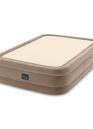 Двуспальная надувная кровать со встроенным  насосом intex prime comfort 64478 (152-203-51 см)