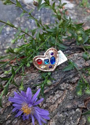 Кольцо перстень сердце с кристаллами магия любви крупный в позолоте steampunk слимпанк викторианская эпоха оригинал
