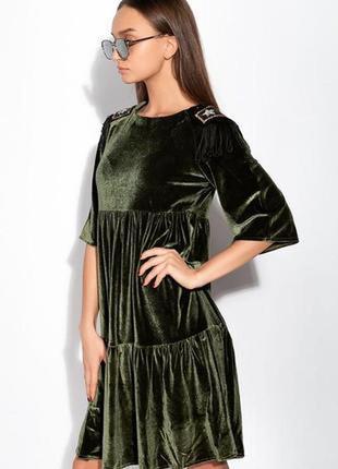 Шикарна велюр сукня вільного крою 2 кольори s m l