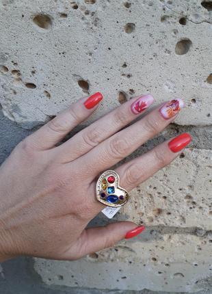 ❤ магия любви 💙 chico's 💛 перстень кольцо с сердцем крупное оригинал винтаж с кристаллами слимпанк викторианский стиль