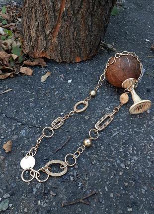 Пояс ремень металлический крупная цепь цепочка брошированный металл позолота слимпанк steampunk