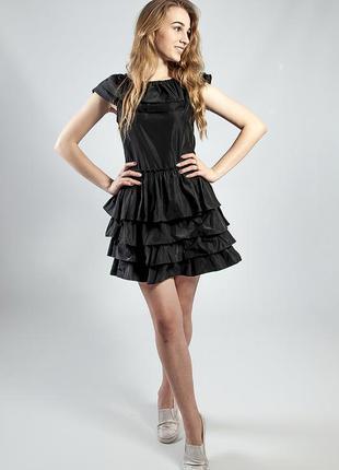 d3cb8fccd240 Платье черное с воланами вечернее коктельное выпускное летнее короткое  rinascimento1 ...