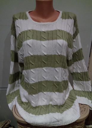 Модный свитер -коса вязаная. бело оливковая полоса