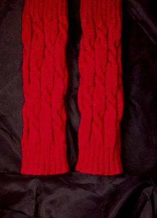 Теплые гетры новогодние ярко красные, ручная работа