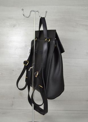 Молодежная женская сумка рюкзак трансформер на плечо черный городской3 фото
