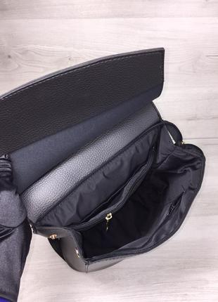 Молодежная женская сумка рюкзак трансформер на плечо черный городской5 фото