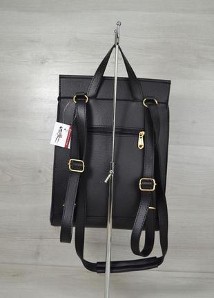 Молодежная женская сумка рюкзак трансформер на плечо черный городской4 фото