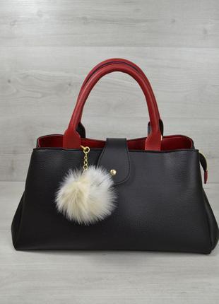 Большая черная сумка через плечо саквояж на три отделения с красными вставками