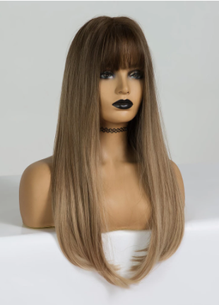 Перука омбре блонд з гривкою локони довге волосся