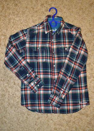 Хлопковая байковая рубашка koin jeans на рост 122-128 см (7-8 лет).