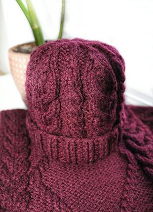 Вязаный комплект шапка-снуд ручной работы