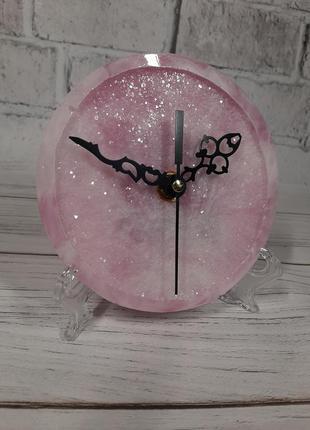 Настільний кристалічний міні годинник подарунок сувенір епоксидна смола кварц аметист