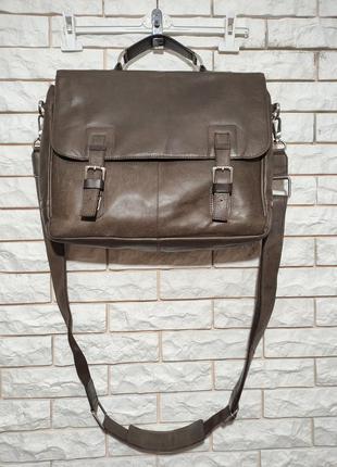 Next кожаный мужской коричневый портфель сумка через плечо