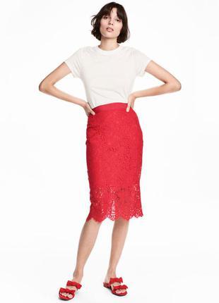 Роскошная кружевная юбка h&m! яркий красный!