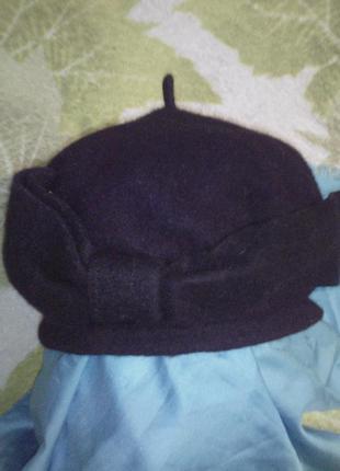Берет шапка винтажная с бантом шерсть винтаж шерстяная wool теплая