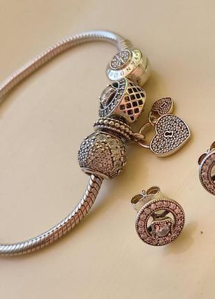 Пандора оригінал браслет ,шарми і сережки