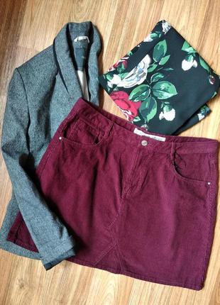 Бордовая вельветовая юбка большого размера, размер 16