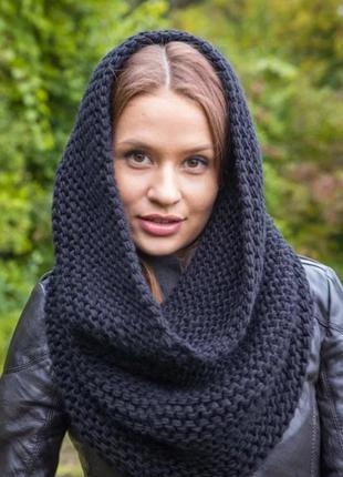 Теплый зимний шарф хомут снуд movir голландия синий удобный новый