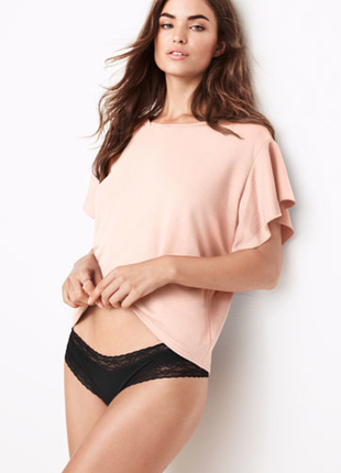 Sale! victoria's secret. топ, кофта виктория сикрет. lounge ruffle-sleeve top. pink ivory
