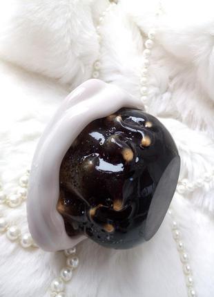 Ваза италия креманка муранское многослойное шоколадно-молочное гранатовое стекло эксклюзив гутная техника из литого стекла