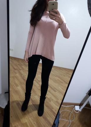 Красивый свитерок джемпер кофточка нежно розовый свободного кроя